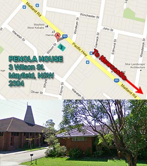 small map of Penola House's new location, 3 Wilson Street Mayfield